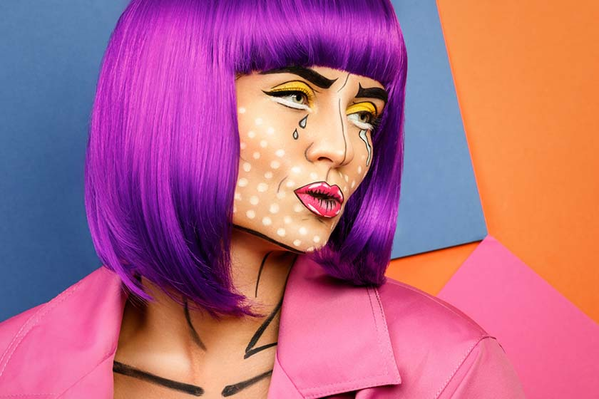 A Woman Wearing Pop Art Makeup for Halloween