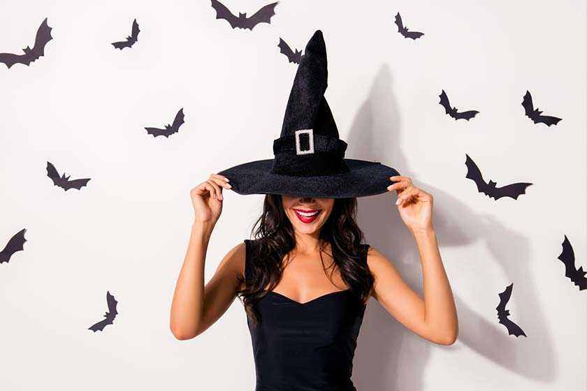 A Woman in a Cute Witch Outfit