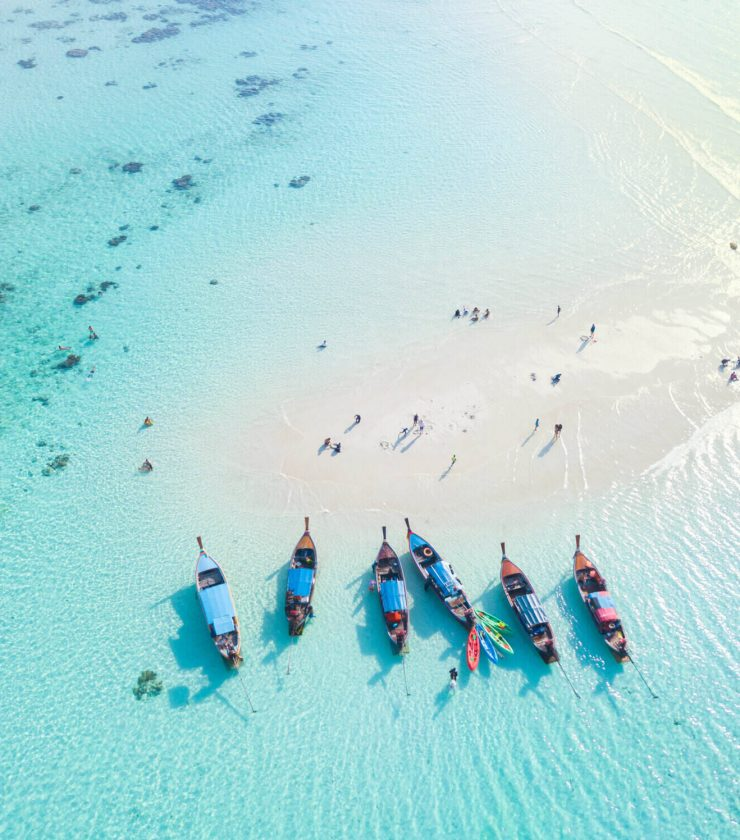 Thailand ocean with long tail boats